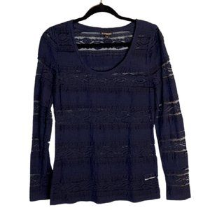 Express Navy Blue Lace Long Sleeve Stretchy Top